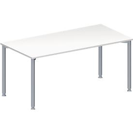 Schäfer Shop Genius Mesa de reuniones MODENA FLEX, ajustable en altura, rectangular, 4 patas de tubo redondo, An 1600 x P 800mm, sin cuadro de conexión, blanco