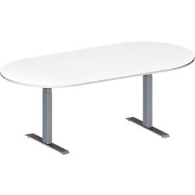 Schäfer Shop Genius Mesa de reuniones MODENA FLEX, ajustable en altura, sin cuadro de conexión, forma ovalada, pata en T de tubo rectangular, An 2000 x P 1000mm, blanco