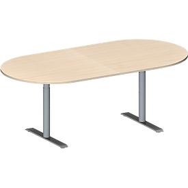 Schäfer Shop Genius Mesa de reuniones MODENA FLEX, ajustable en altura, sin cuadro de conexión, forma ovalada, pata en T de tubo redondo, An 2000 x P 1000mm, acabado en arce