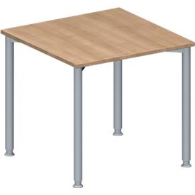 Schäfer Shop Genius Mesa de reuniones MODENA FLEX, regulable en altura, forma cuadrada, 4 patas con tubos redondos, ancho 800 x fondo 800 mm, madera de cerezo Romana