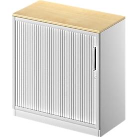 Schäfer Shop  Genius Roldeurkast TETRIS SOLID, 2 ordnerhoogten, B 800 mm, incl. 19 mm afdekplaat, beukenpatroon/blank aluminium/blank aluminium