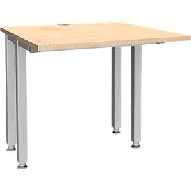 Schäfer Shop Genius Schreibtisch MODENA FLEX, 4-Fuß-Quadratrohr, verkürzte Seitenteile, B 800 mm, ahorn