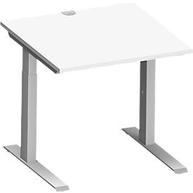 Schäfer Shop Genius Schreibtisch MODENA FLEX, C-Fuß-Rechteckrohr, B 800 x T 800 mm, weiß/weißalu