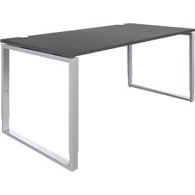 Schäfer Shop Genius Schreibtisch Modena Flex, höheneinstellbar, Rechteckform, Bügelfuß, Breite 1600 mm, graphit