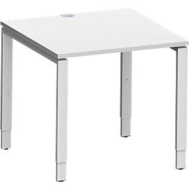 Schäfer Shop Genius Schreibtisch Modena Flex, Quadrat, 4-Fuß Rechteckrohr, B 800 x T 800 x H 650-850 mm, lichtgrau/weißaluminium