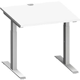 Schäfer Shop Genius Schreibtisch MODENA FLEX, T-Fuß-Rechteckrohr, B 800 x T 800 mm, weiß/weißalu