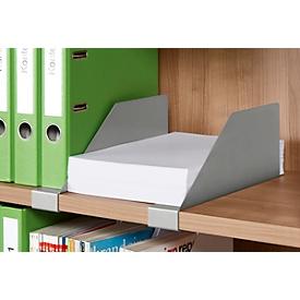 Schäfer Shop Genius Separador de estantes metálico para estanterías y armarios TETRIS WOOD, aluminio blanco, 1 unidad
