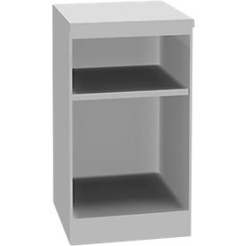 Schäfer Shop  Genius TETRIS SOLID houten boekenkast, 1,5 OH, B 400 x D 413 x H 720 mm, lichtgrijs/blankalu