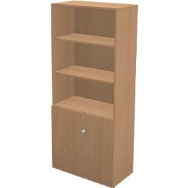Schäfer Shop  Genius TETRIS WALL combi-boekenkast, 5 OH, 3 open vakken + 2 deuren, B 800 x D 440 x H 1880 mm, beukendecor