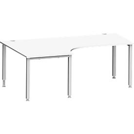 Schäfer Shop Genius Winkelschreibtisch MODENA FLEX 90°, Ansatz links, 4-Fuß-Quadratrohr, B 2000 mm, weiß/weiß