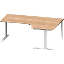 Schäfer Shop Genius Winkelschreibtisch MODENA FLEX 90°, C-Fuß-Rechteckrohr, B 2000 mm, Ansatz rechts, Kirsche