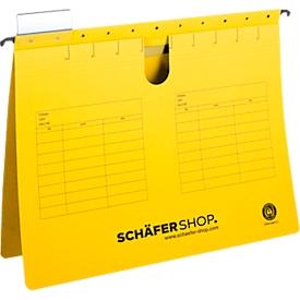 SCHÄFER SHOP hangsnelhechters, voor formaten tot A4, hechtstrook bovenaan, geel