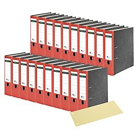 SCHÄFER SHOP ordner, A4-formaat, rug van 80 mm, 20 stuks, rood + GRATIS scheidingsstroken, geel 100 stuks