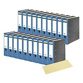 SCHÄFER SHOP Ordner, DIN A4, 80 mm, 20 Stück, blau + GRATIS Trennstreifen, gelb, 100 Stück