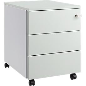 Schäfer Shop Pure Archivador con ruedas 333, cuerpo de acero, frontal de madera, ruedas, con cerradura, An 435 x P 565 x Al 567mm, 3 cajones, gris luminoso/aluminio blanco