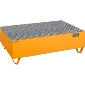 Schäfer Shop Pure Auffangwanne, mit verzinktem Gitterrost, für 2 Fässer à 200 l, B 1200 x T 800 x H 360 mm, unterfahrbar, Stahl, RAL 2000 orange