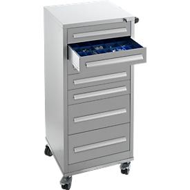 Schäfer Shop Pure Cajonera SFR 70, 7 cajones, con ruedas, aluminio blanco RAL 9006