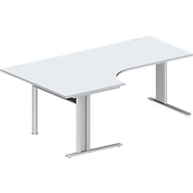 Schäfer Shop Pure Escritorio en L, PLANOVA BASIC, An 2000mm, gris luminoso, armazón aluminio blanco