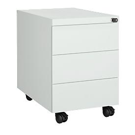 Schäfer Shop Pure Rollcontainer, 3 Schübe, seitliche Griffnut, B 390 x T 590 x H 550 mm, Stahl lichtgrau, abschließbar