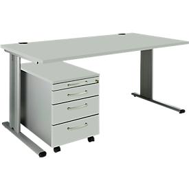 Schäfer Shop Pure SET PLANOVA BASIC, Escritorio + archivador con ruedas, gris luminoso/aluminio blanco