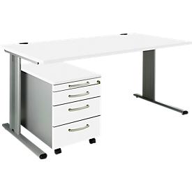 Schäfer Shop Pure SET PLANOVA BASIC, Schreibtisch+ Rollcontainer, weiß/weißalu