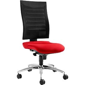 Schäfer Shop Pure Silla de oficina SSI PROLINE S2, mecanismo sincronizado, sin reposabrazos, respaldo de malla 3D, asiento ergonómico, rojo/negro