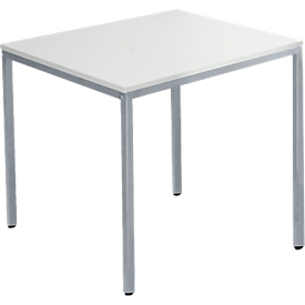 Schäfer Shop  Pure Tafel van stalen buis, rechthoekig, voet van vierkante buis, B 1200 x D 700 zero x H 720 mm, alu lichtgrijs/wit