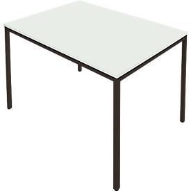 Schäfer Shop  Pure Tafel van stalen buis, rechthoekig, voet van vierkante buis, B 1400 x D 800 zero x H 720 mm, lichtgrijs/zwart
