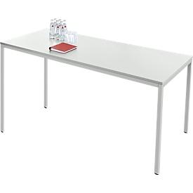 Schäfer Shop  Pure Tafel van stalen buizen, rechthoekig, vierkante buispoot, B 1600 x D 700 x H 720 mm, lichtgrijs/lichtgrijs