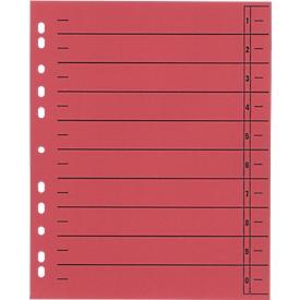 SCHÄFER SHOP scheidingsbladen met tabs, A4-formaat, gelinieerd, 100 stuks, rood