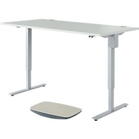 Schäfer Shop Select 2-tlg. Büromöbel-Set, Schreibtisch START UP, elektrisch höhenverstellbar, lichtgrau/weißaluminium + Balanceboard