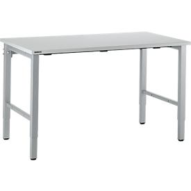 Schäfer Shop Select Arbeitstisch, manuell höhenverstellbar, 4-Fußgestell, B 1600 x T 800 x H 680-960 mm, Holz & Stahl, lichtgrau/weißaluminium