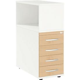Schäfer Shop Select Archivador auxiliar LOGIN, con estantería superior, 4 cajones, An 409 x P 800 x Al 1120mm, madera, con cerradura, blanco/arce