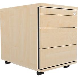 Schäfer Shop Select Archivador con ruedas 1233, bandeja extraíble utensilios + cajones, con cerradura, tablero aglomerado, An 428 x P 600 x Al 540mm, arce
