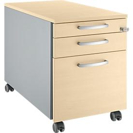 Schäfer Shop Select Archivador con ruedas 126, 3 cajones, tiradores redondeados, aluminio blanco/aluminio blanco/acabado en arce