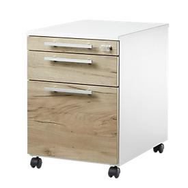 Schäfer Shop Select Archivador con ruedas SET UP con archivadores colgantes, con cerradura, An 432 x P 580 x Al 595mm, blanco/roble