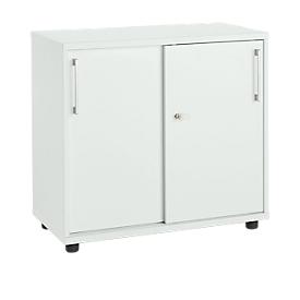 Schäfer Shop Select Armario auxiliar de puertas correderas, de madera, 2 estantes, An 800 x P 421 x Al 750mm, gris luminoso