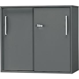 Schäfer Shop Select Armario auxiliar/superior de puertas correderas SET UP, 2 AA, An 800 x P 420 x Al 726mm, grafito/grafito