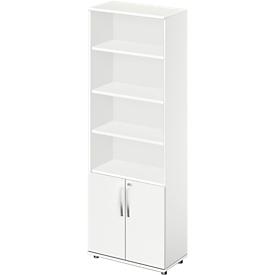 Schäfer Shop Select Armario combinado LOGIN, arriba 4 estantes, abajo 2 alturas de archivo con puertas, An 800 x P 420 x Al 2196mm, blanco/blanco