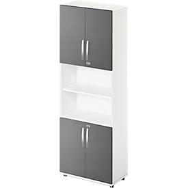 Schäfer Shop Select Armario combinado LOGIN, arriba y abajo 2 alturas de archivo con puerta, estante central, An 800 x P 420 x Al 2196mm, blanco/grafito