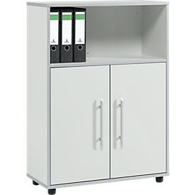 Schäfer Shop Select Armario combinado Moxxo IQ, madera, 2 puertas batientes, 1 compartimento abierto, 3 AA, An 801 x P 362 x Al 1115mm, gris luminoso