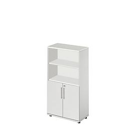 Schäfer Shop Select Armario combinado Start Up, 4 AA, con cerradura, An 800 x P 420 x Al 1470mm, madera, gris luminoso/gris luminoso