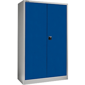 Schäfer Shop Select Armario de material MS 2509, con estantes, H 1935 mm, aluminio blanco RAL 9006/azul benigno