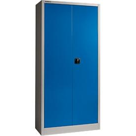 Schäfer Shop Select Armario de material SSI Schaefer MSI 2409, ancho 950 x fondo 400 x alto 1935 mm, aluminio blanco RAL 9006/azul marino