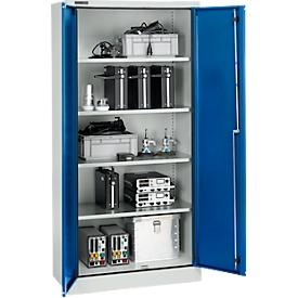 Schäfer Shop Select Armario de protección según IP 54, 4 estantes, ancho 950 x fondo 525 x alto 1935 mm, aluminio blanco RAL 9006/azul marino