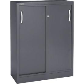 Schäfer Shop Select Armario de puertas correderas, 3 alturas de archivo, An 1200mm, grafito RAL 7024