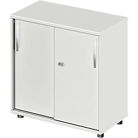 Schäfer Shop Select Armario de puertas correderas LOGIN, 2 alturas de archivo, An 800 x P 420 x Al 744mm, gris luminoso/gris luminoso
