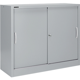 Schäfer Shop Select Armario de puertas correderas MS iCONOMY, acero, 3 alturas de archivo, An 1200 x P 400 x Al 1215mm, aluminio blanco RAL 9006