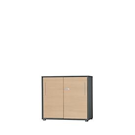 Schäfer Shop Select Armario de puertas correderas Start Up, 2 AA, con cerradura, An 800 x P 420 x Al 744mm, madera, grafito/arce