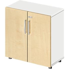Schäfer Shop Select Armario LOGIN, 2 alturas de archivo, An 800 x P 420 x Al 744mm, blanco/acabado en arce